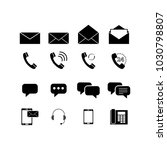 set contacts envelopes icons | Shutterstock .eps vector #1030798807