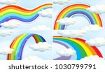four patterns of rainbow in sky ... | Shutterstock .eps vector #1030799791