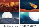 four scenes of space with moon... | Shutterstock .eps vector #1030799809
