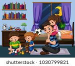 daddy and three kids in bedroom ... | Shutterstock .eps vector #1030799821