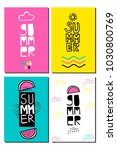vector set cards. summer... | Shutterstock .eps vector #1030800769