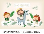 jesus riding a donkey entering... | Shutterstock .eps vector #1030801039