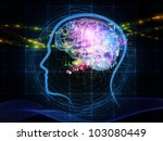 Abstract design made of head outlines, lights and abstract design elements on the subject of intelligence,  consciousness, logical thinking, mental processes and brain power - stock photo