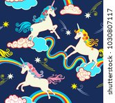 unicorn fantasy pattern ... | Shutterstock .eps vector #1030807117