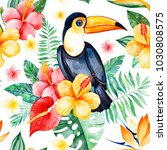 handpainted watercolor seamless ... | Shutterstock . vector #1030808575