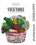 basket of vegetables vector... | Shutterstock .eps vector #1030814995