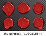 wax seal stamp red certificate... | Shutterstock .eps vector #1030818544