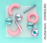 3d render chaotic composition... | Shutterstock . vector #1030831381