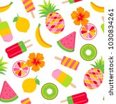 colorful tropical fruits and... | Shutterstock .eps vector #1030834261