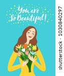 lovely girl holding a bouquet... | Shutterstock .eps vector #1030840297