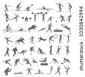 50 silhouettes figures of...   Shutterstock .eps vector #1030842994