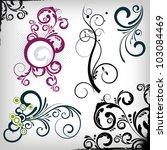 a set of vector floral design... | Shutterstock .eps vector #103084469