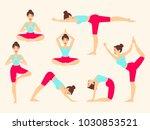 yoga poses. asanas. female... | Shutterstock .eps vector #1030853521