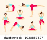 yoga poses. asanas. female... | Shutterstock .eps vector #1030853527