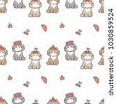 seamless pattern of cute...   Shutterstock .eps vector #1030859524