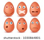 set of 3d easter eggs emoticons.... | Shutterstock .eps vector #1030864801