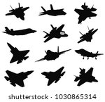 military stealth aircraft...   Shutterstock .eps vector #1030865314