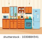 cozy kitchen interior with... | Shutterstock .eps vector #1030884541