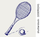 a tennis racket and ball | Shutterstock .eps vector #103090241