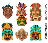 colorful mayan mask cartoon set ... | Shutterstock .eps vector #1030903897