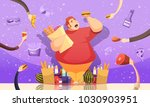 gluttony leading to obesity... | Shutterstock .eps vector #1030903951