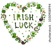 collection of irish symbols.... | Shutterstock . vector #1030908994