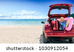 summer car with suitcase and... | Shutterstock . vector #1030912054
