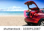 summer car with suitcase and... | Shutterstock . vector #1030912087