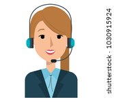 businesswoman with headset... | Shutterstock .eps vector #1030915924