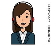 businesswoman with headset... | Shutterstock .eps vector #1030915969