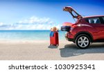summer time and red car on... | Shutterstock . vector #1030925341