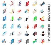 workbook icons set. isometric... | Shutterstock .eps vector #1030943857