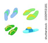 slippers icon set. cartoon set... | Shutterstock .eps vector #1030953181