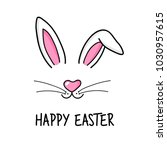 cute easter bunny vector... | Shutterstock .eps vector #1030957615