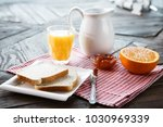 healthy english breakfast with... | Shutterstock . vector #1030969339
