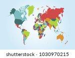 political world map | Shutterstock .eps vector #1030970215