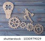 a businessman is running on a... | Shutterstock . vector #1030979029