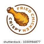 hot crispy fried chicken logo... | Shutterstock .eps vector #1030986877
