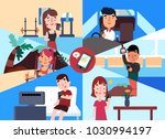 social media. young people in... | Shutterstock .eps vector #1030994197