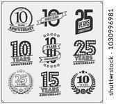 vector set of anniversary... | Shutterstock .eps vector #1030996981