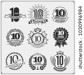 vector set of anniversary... | Shutterstock .eps vector #1030996984