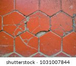 Close Up Cracked Old Tiles  Ol...