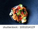 delicious fried shrimp with... | Shutterstock . vector #1031014129
