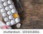 white raw chicken eggs in... | Shutterstock . vector #1031016061