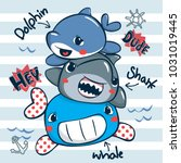 funny cartoon sea animals with... | Shutterstock .eps vector #1031019445