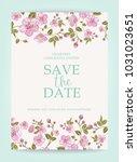 blooming sakura tree branch at... | Shutterstock .eps vector #1031023651