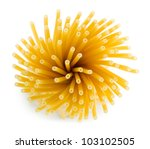 Bunch of spaghetti. View from above. Isolated on white background - stock photo