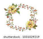frame of yellow roses and... | Shutterstock . vector #1031029219