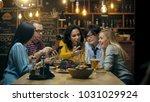 in the bar  restaurant birthday ... | Shutterstock . vector #1031029924
