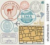 travel stamps or symbols set... | Shutterstock .eps vector #1031029969